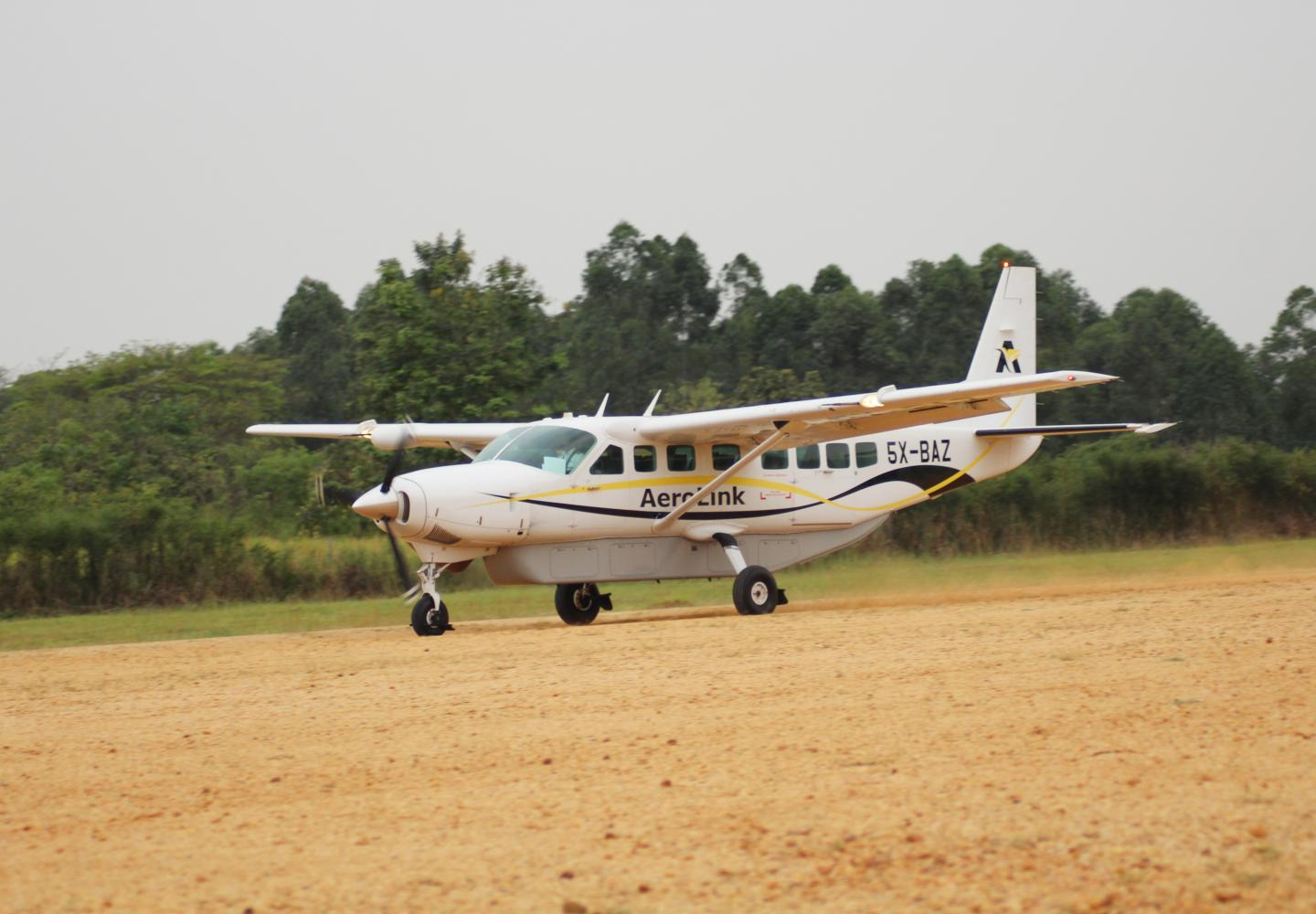 View of aircraft landing (Aerolink Uganda)